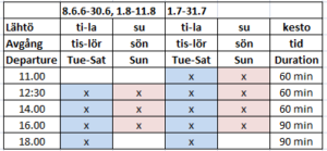 Tidtabell - Schedule