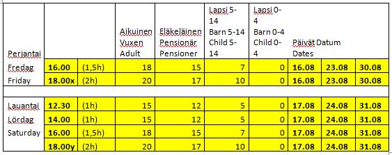 Elokuun aikataulu - Augusti tidtabell - August schedule