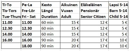Aikataulu - Tidtabell- Timetable